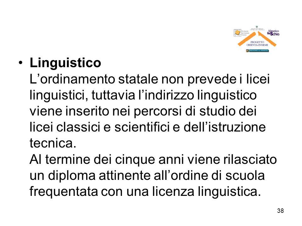 Linguistico L'ordinamento statale non prevede i licei linguistici, tuttavia l'indirizzo linguistico viene inserito nei percorsi di studio dei licei classici e scientifici e dell'istruzione tecnica.