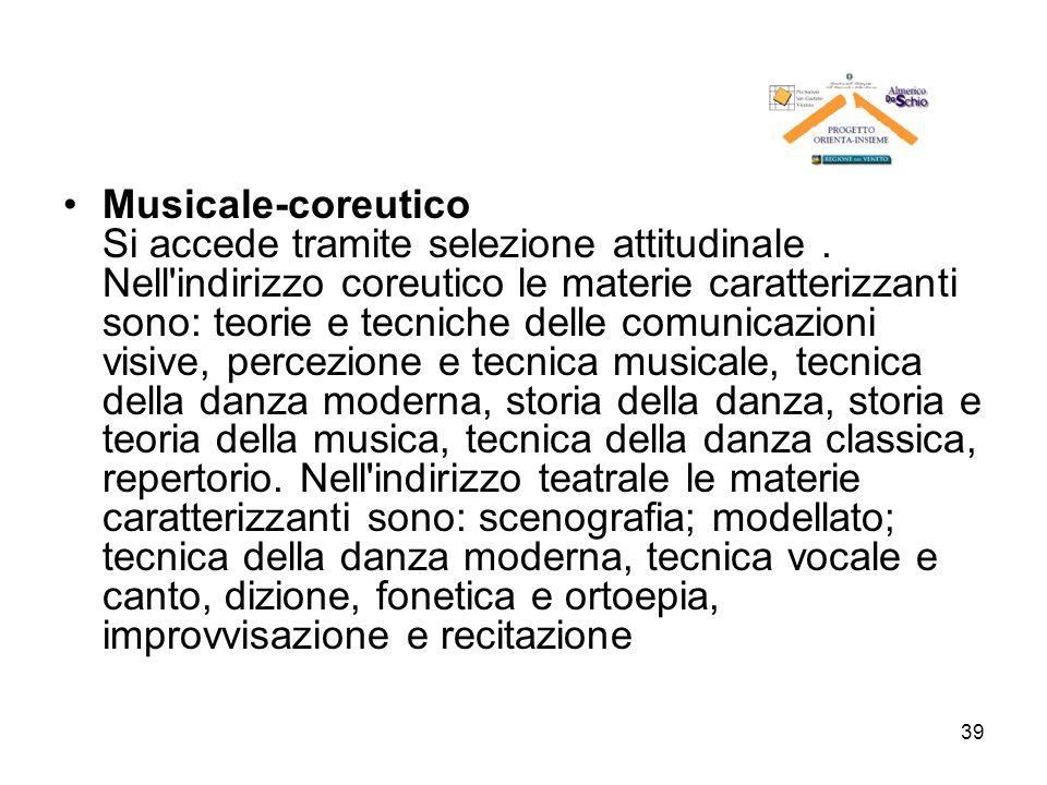 Musicale-coreutico Si accede tramite selezione attitudinale