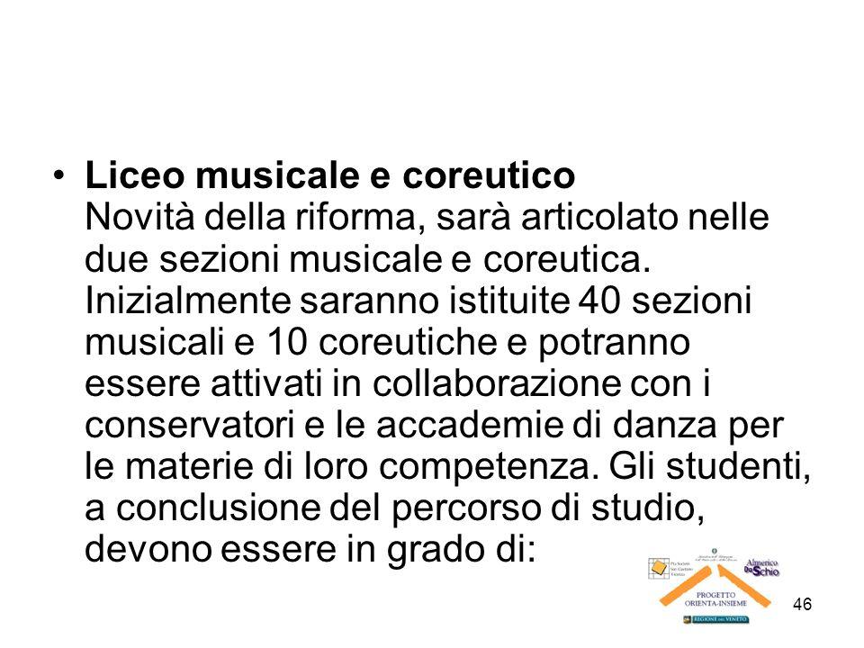 Liceo musicale e coreutico Novità della riforma, sarà articolato nelle due sezioni musicale e coreutica.