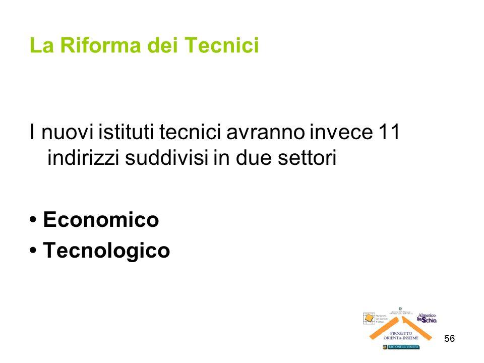 La Riforma dei Tecnici I nuovi istituti tecnici avranno invece 11 indirizzi suddivisi in due settori.