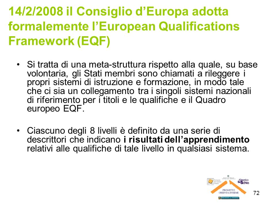 14/2/2008 il Consiglio d'Europa adotta formalemente l'European Qualifications Framework (EQF)