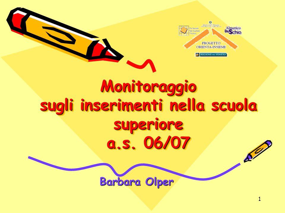 Monitoraggio sugli inserimenti nella scuola superiore a.s. 06/07
