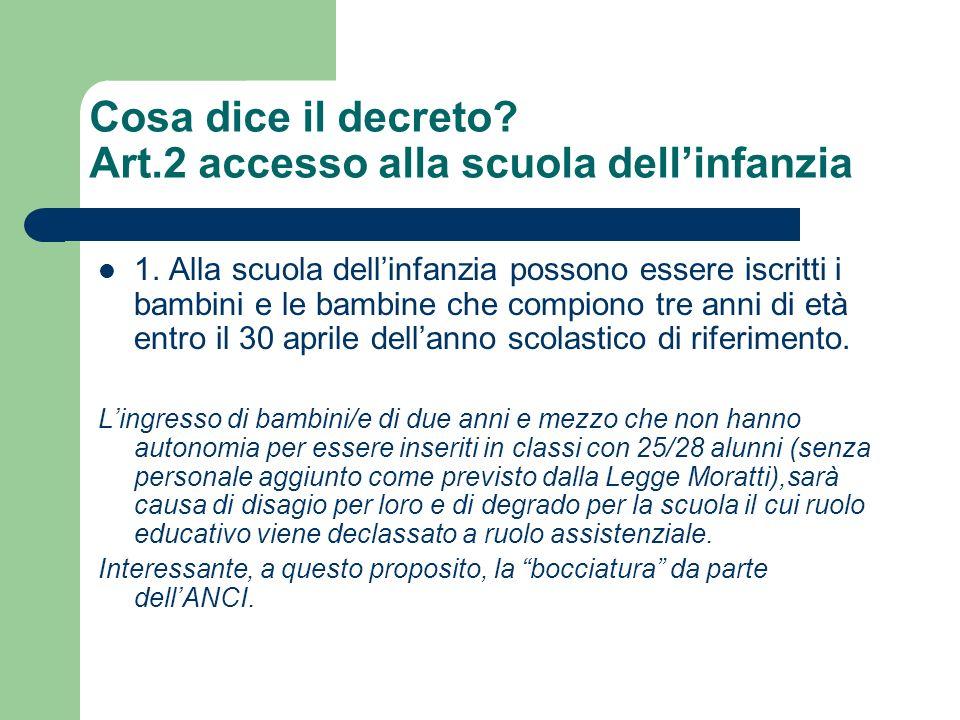 Cosa dice il decreto Art.2 accesso alla scuola dell'infanzia