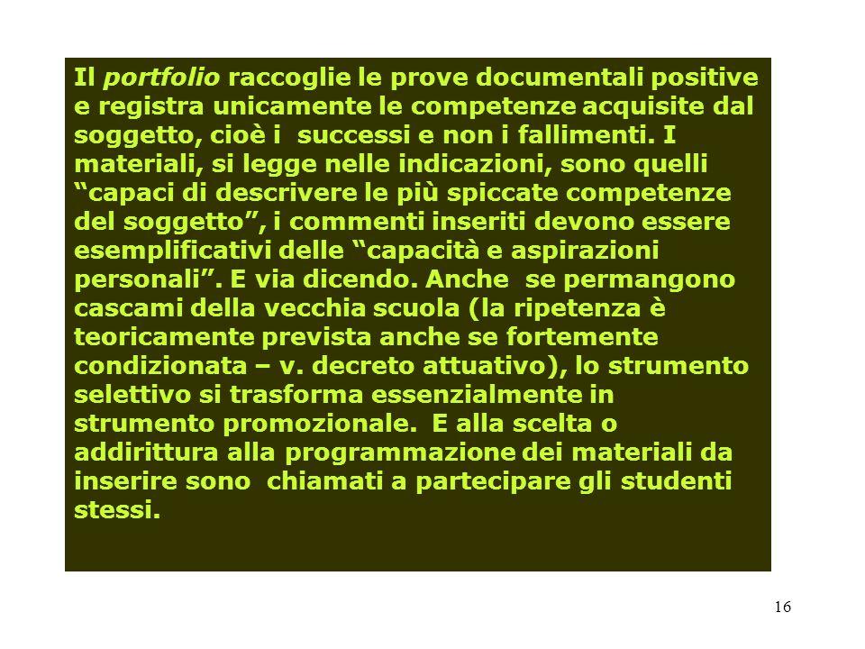 Il portfolio raccoglie le prove documentali positive e registra unicamente le competenze acquisite dal soggetto, cioè i successi e non i fallimenti.
