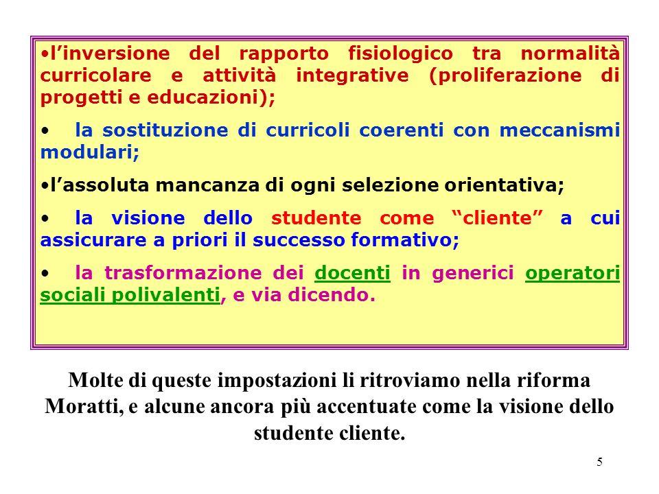 l'inversione del rapporto fisiologico tra normalità curricolare e attività integrative (proliferazione di progetti e educazioni);