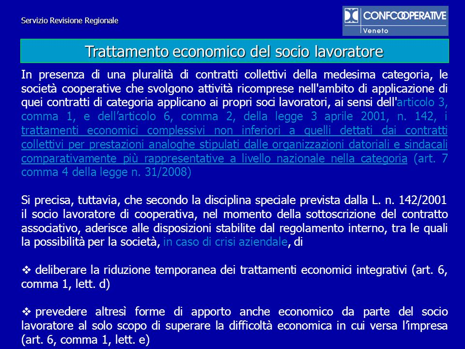 Trattamento economico del socio lavoratore
