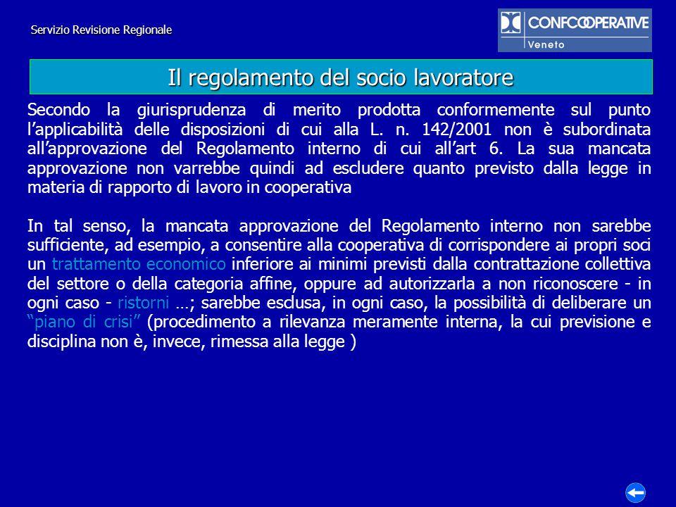 Il regolamento del socio lavoratore