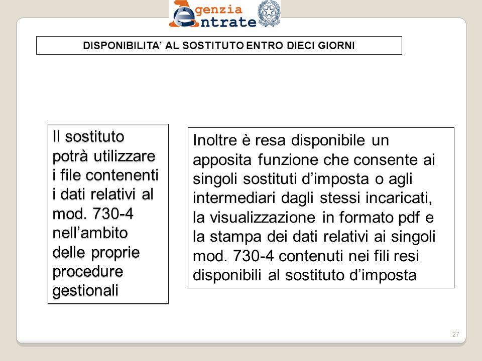 DISPONIBILITA' AL SOSTITUTO ENTRO DIECI GIORNI