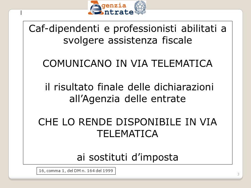 COMUNICANO IN VIA TELEMATICA