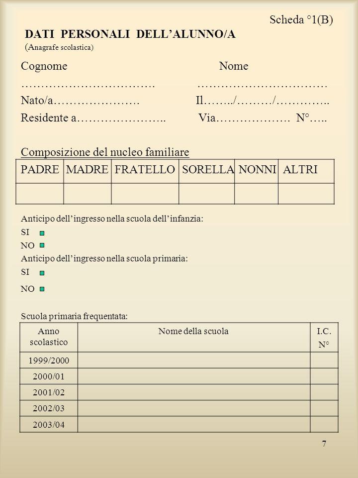 Scheda °1(B) DATI PERSONALI DELL'ALUNNO/A (Anagrafe scolastica)