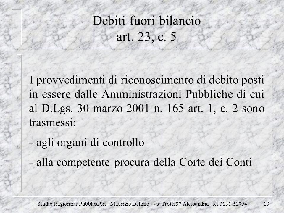Debiti fuori bilancio art. 23, c. 5