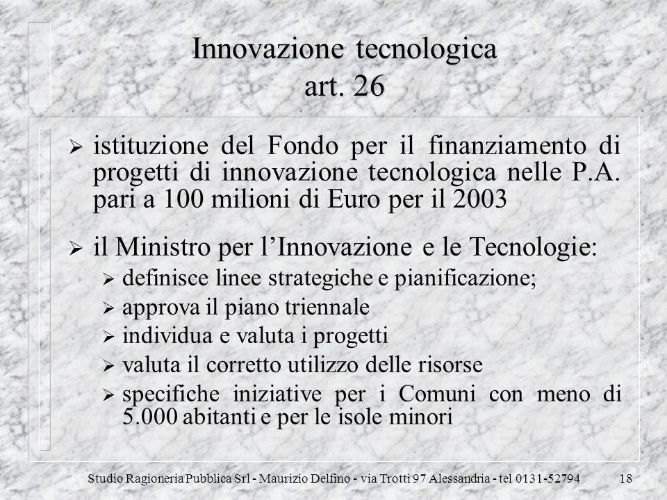 Innovazione tecnologica art. 26