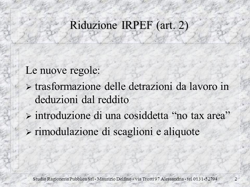 Riduzione IRPEF (art. 2) Le nuove regole: