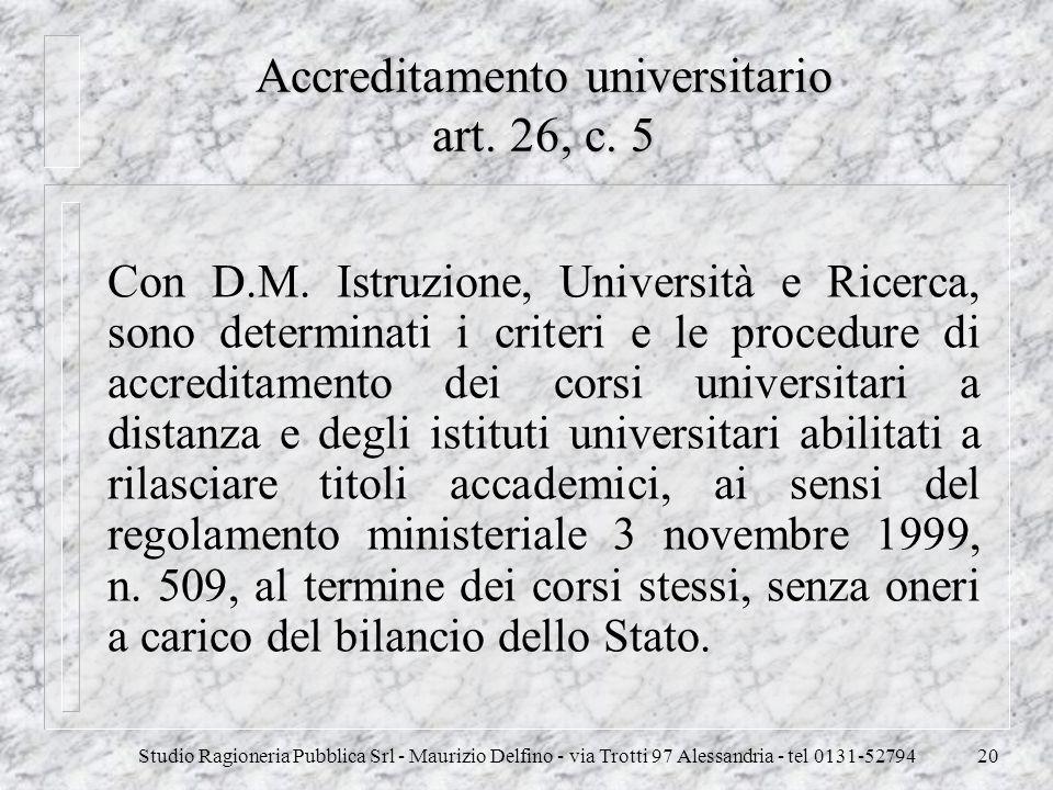 Accreditamento universitario art. 26, c. 5