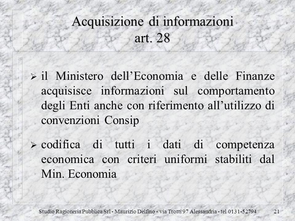 Acquisizione di informazioni art. 28