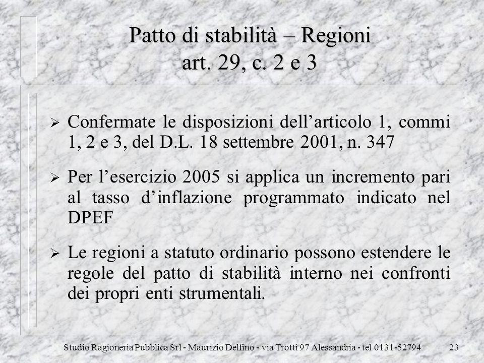 Patto di stabilità – Regioni art. 29, c. 2 e 3