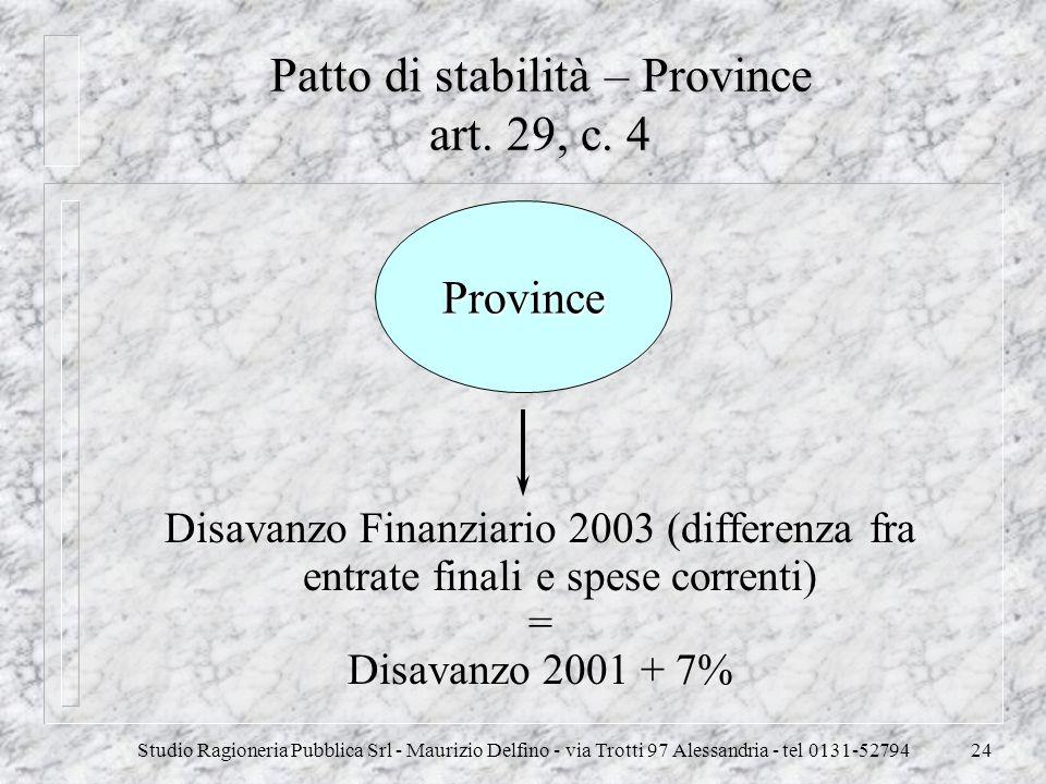Patto di stabilità – Province art. 29, c. 4