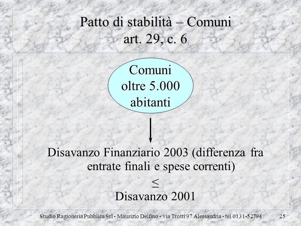Patto di stabilità – Comuni art. 29, c. 6