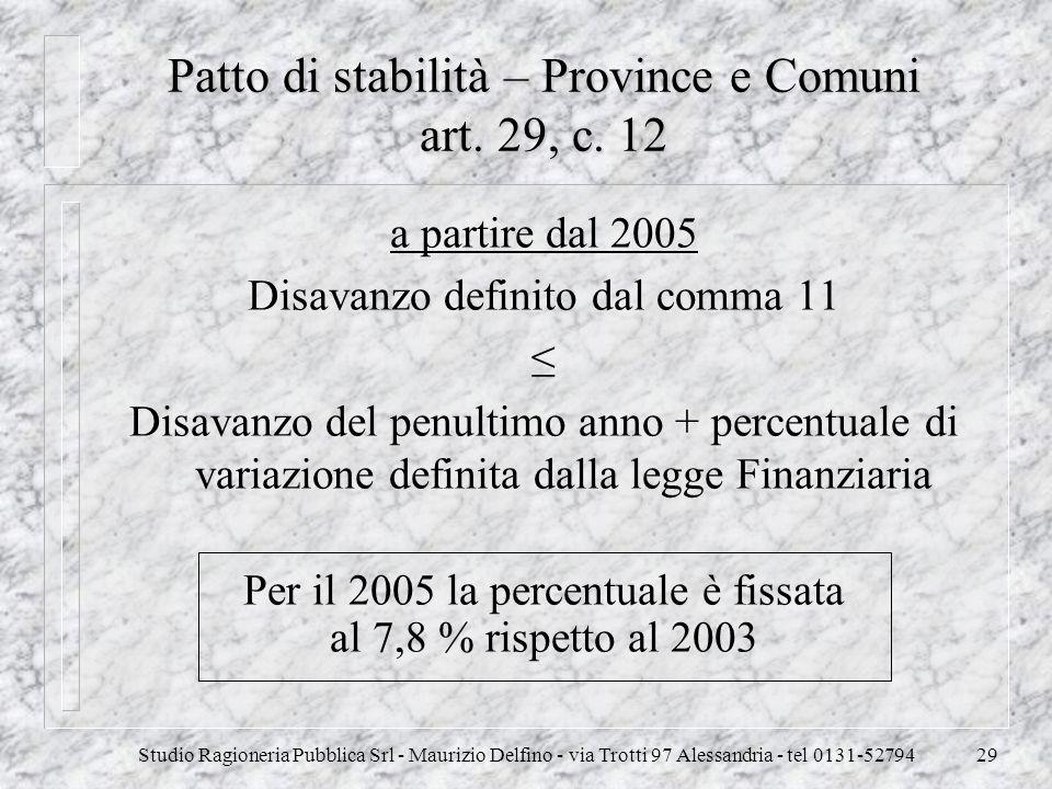Patto di stabilità – Province e Comuni art. 29, c. 12