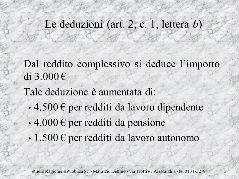 Le deduzioni (art. 2, c. 1, lettera b)
