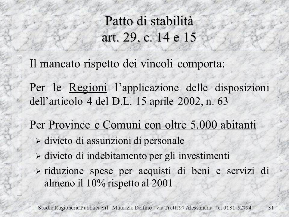 Patto di stabilità art. 29, c. 14 e 15