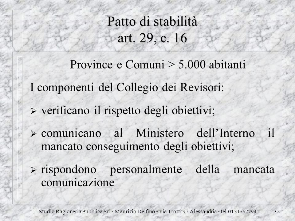 Patto di stabilità art. 29, c. 16
