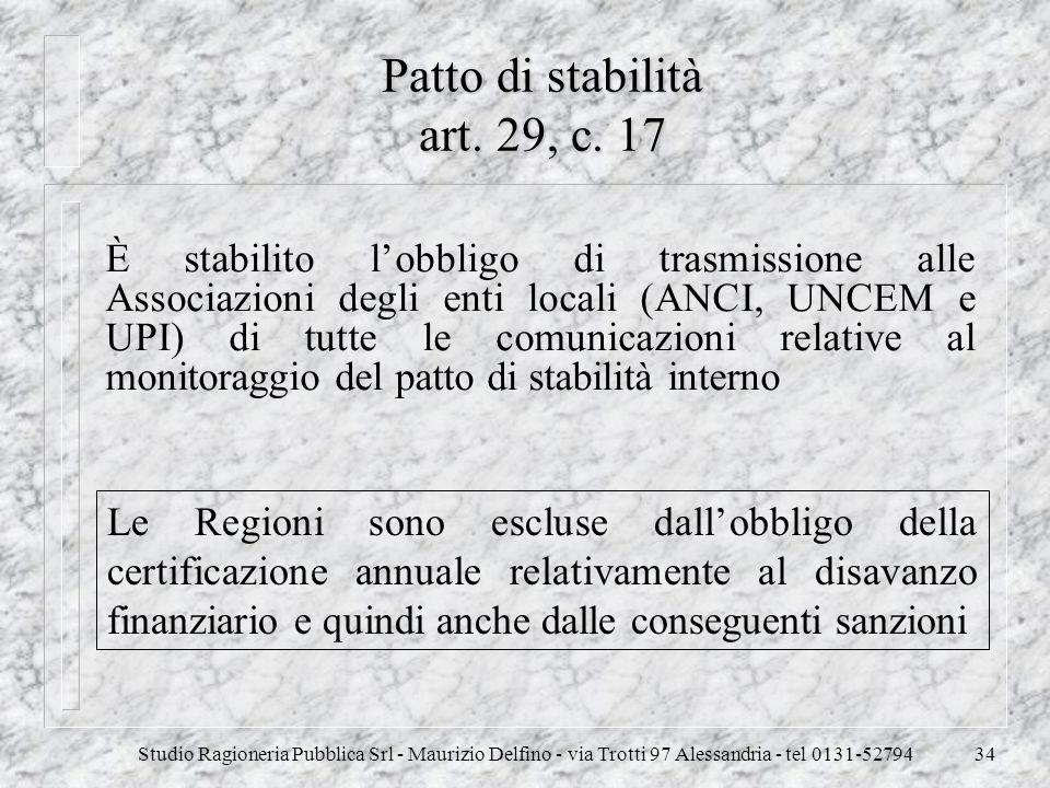 Patto di stabilità art. 29, c. 17