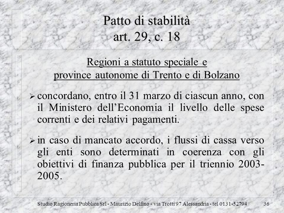 Patto di stabilità art. 29, c. 18