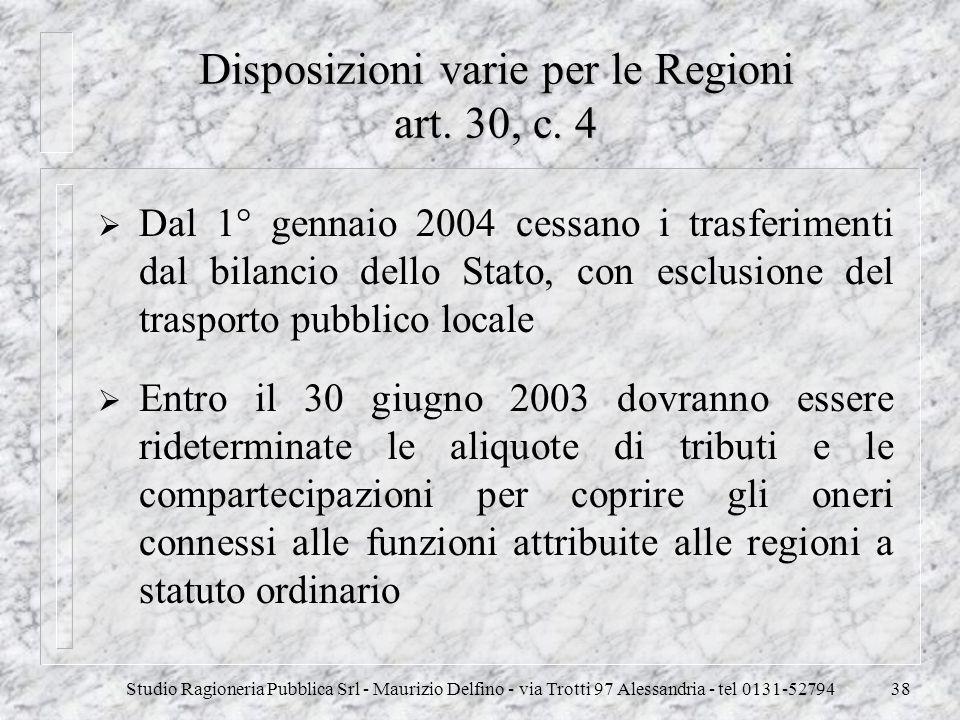 Disposizioni varie per le Regioni art. 30, c. 4
