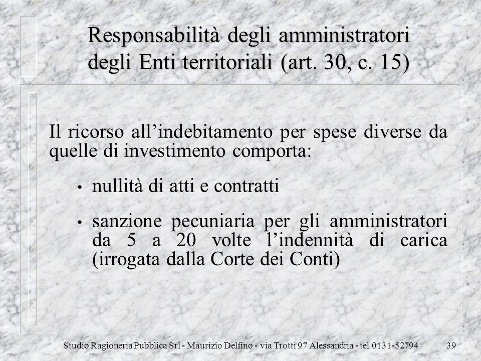 Responsabilità degli amministratori degli Enti territoriali (art. 30, c. 15)