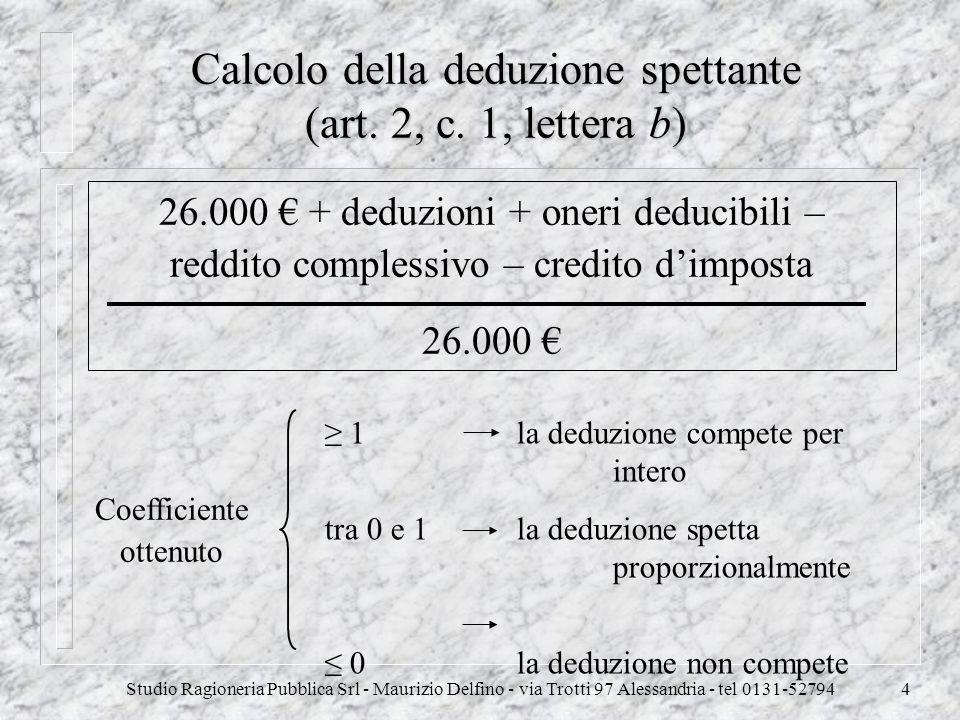Calcolo della deduzione spettante (art. 2, c. 1, lettera b)