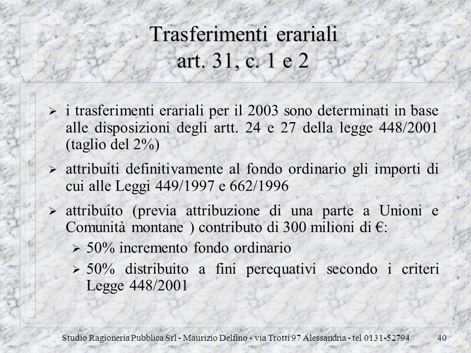 Trasferimenti erariali art. 31, c. 1 e 2