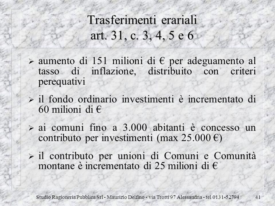 Trasferimenti erariali art. 31, c. 3, 4, 5 e 6