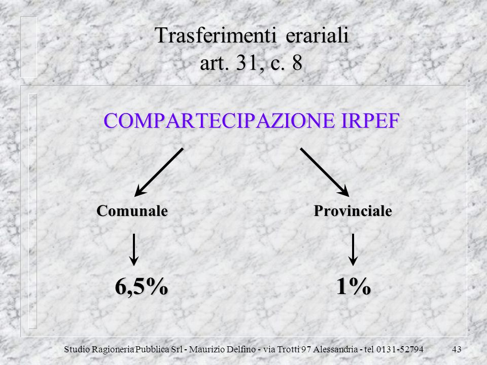 Trasferimenti erariali art. 31, c. 8
