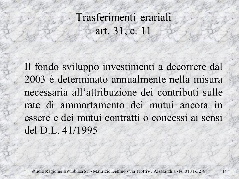 Trasferimenti erariali art. 31, c. 11
