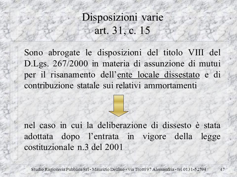 Disposizioni varie art. 31, c. 15