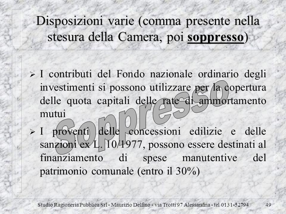 Disposizioni varie (comma presente nella stesura della Camera, poi soppresso)