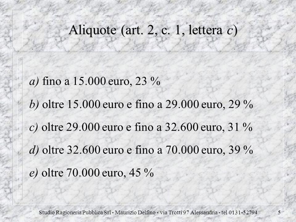 Aliquote (art. 2, c. 1, lettera c)