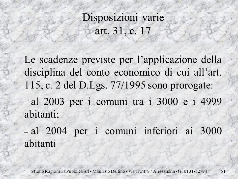 Disposizioni varie art. 31, c. 17