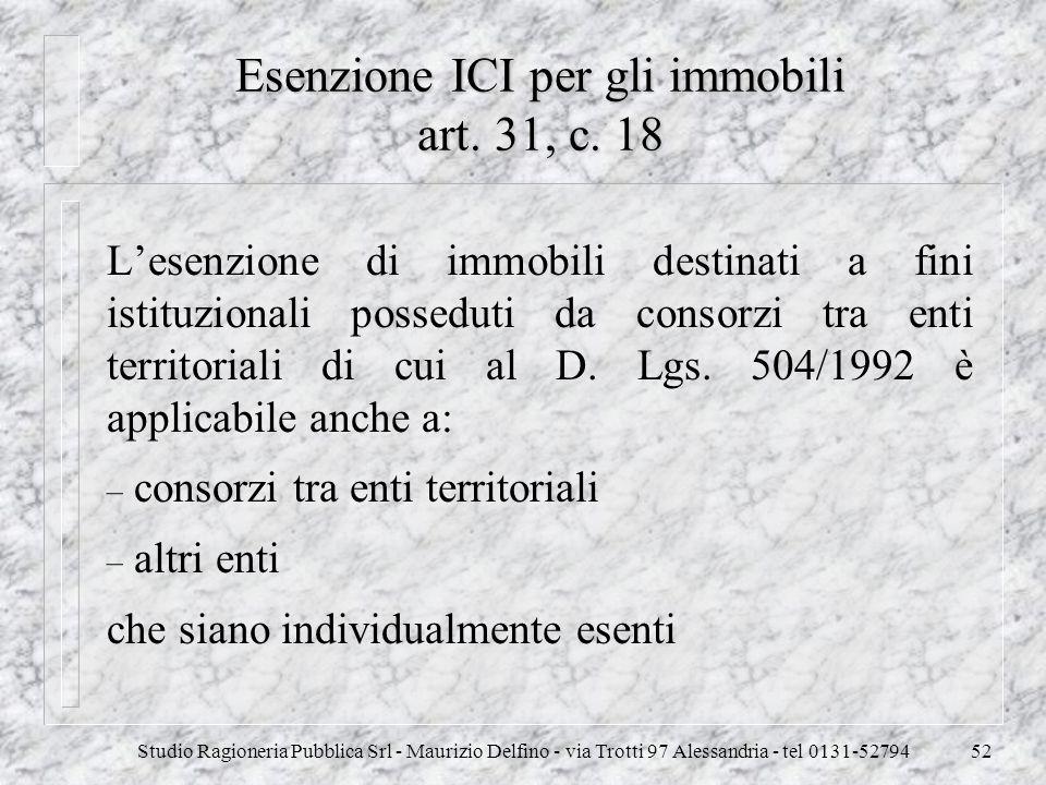 Esenzione ICI per gli immobili art. 31, c. 18