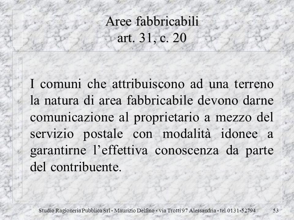 Aree fabbricabili art. 31, c. 20