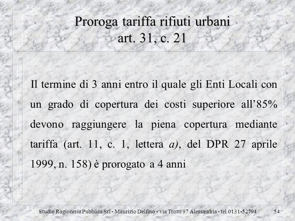 Proroga tariffa rifiuti urbani art. 31, c. 21