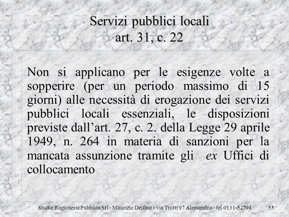 Servizi pubblici locali art. 31, c. 22