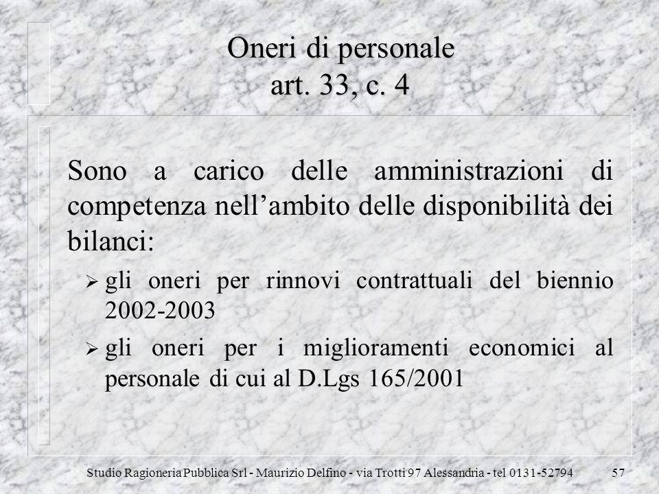 Oneri di personale art. 33, c. 4