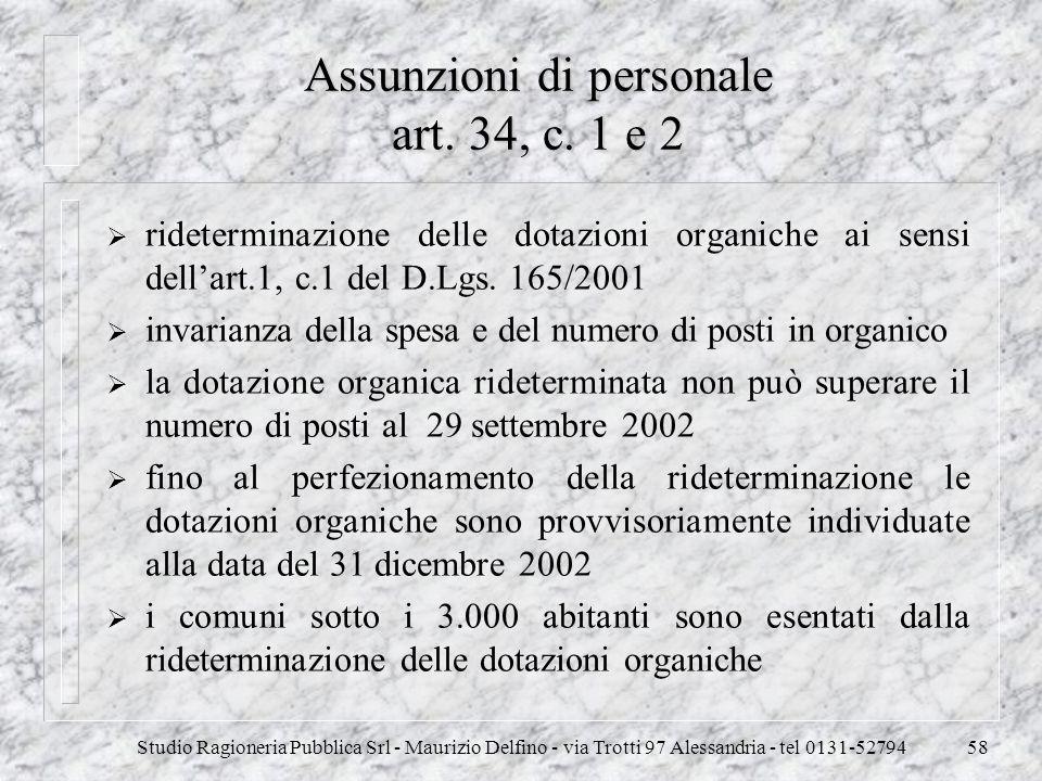 Assunzioni di personale art. 34, c. 1 e 2