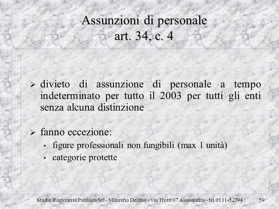 Assunzioni di personale art. 34, c. 4