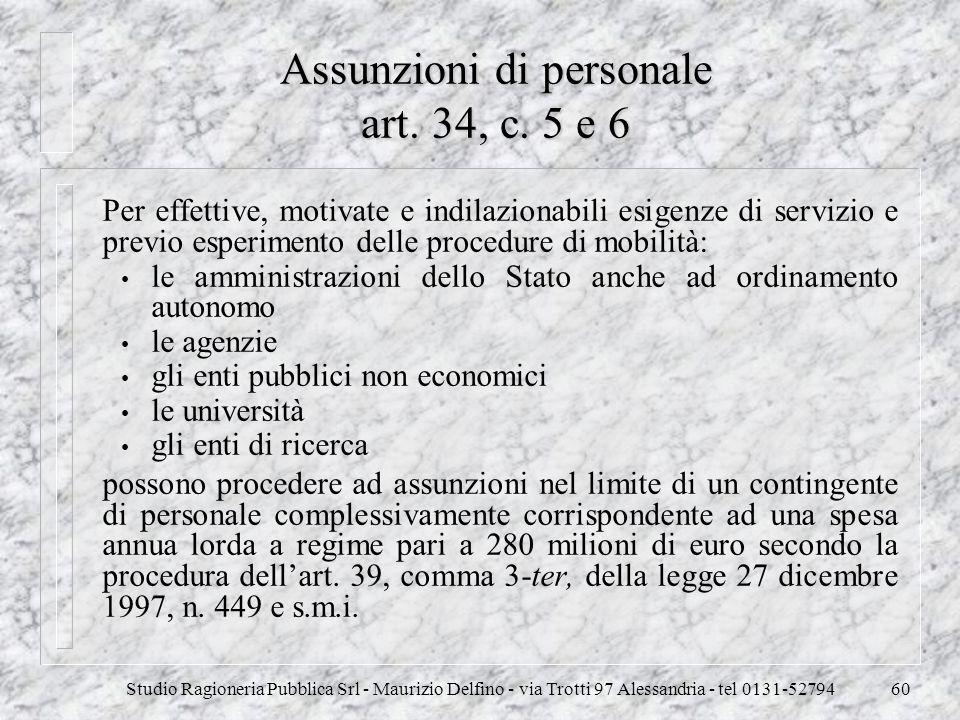 Assunzioni di personale art. 34, c. 5 e 6
