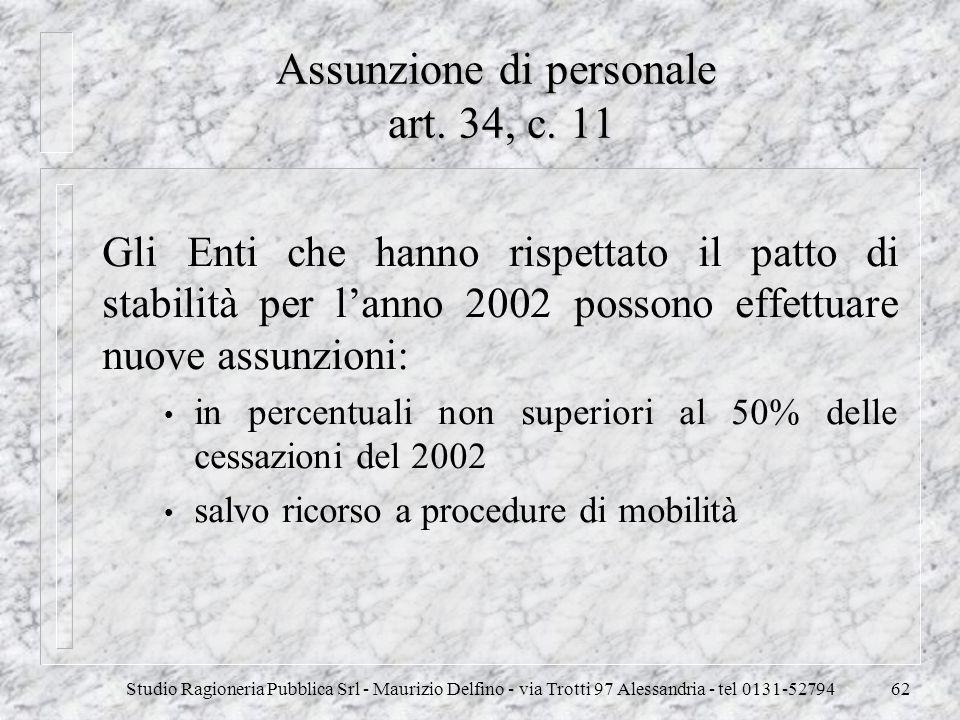 Assunzione di personale art. 34, c. 11