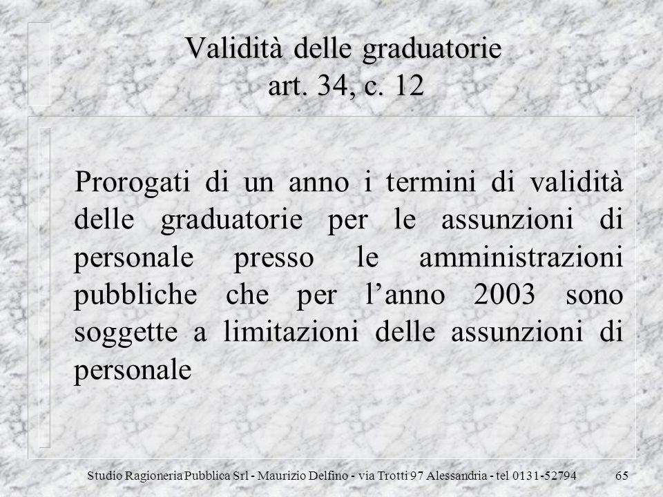 Validità delle graduatorie art. 34, c. 12