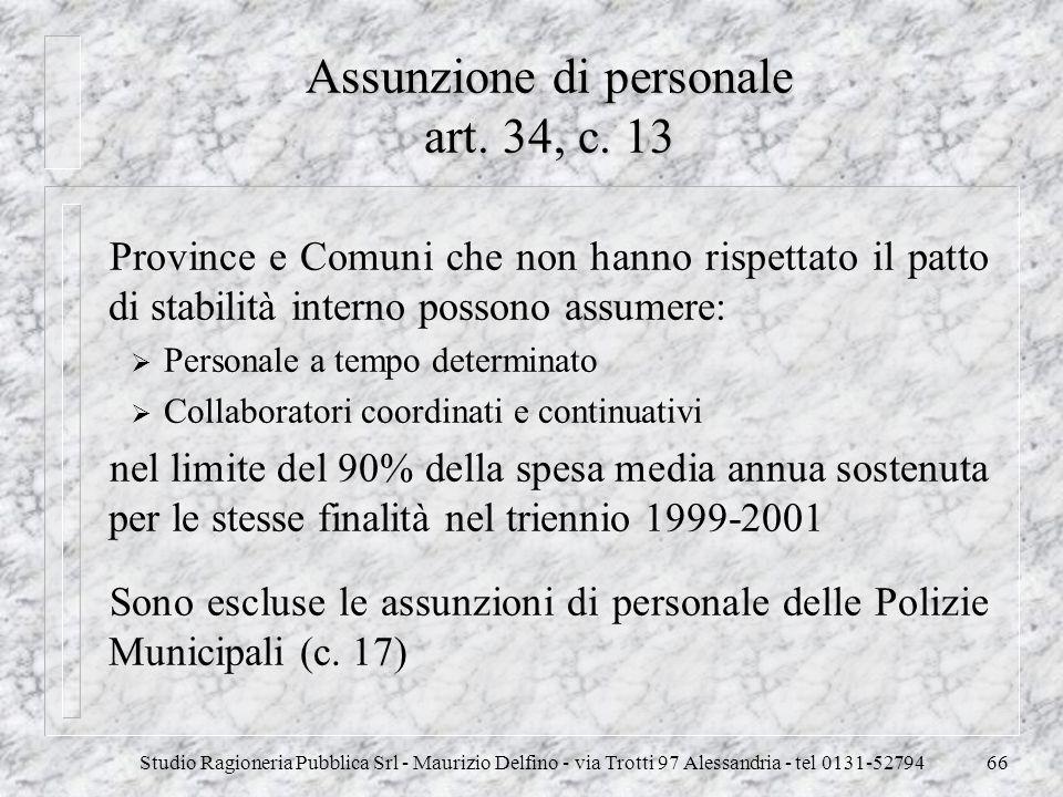 Assunzione di personale art. 34, c. 13